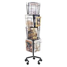 "Safco Rotary Literature Display Rack - 16 Compartment(s) - 1"" (25.40 mm) - 60"" Height x 15"" Width x 15"" Depth - Floor - Charcoal - 1 / Each"