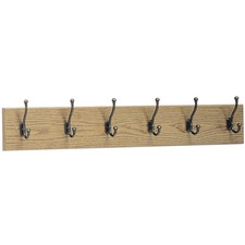 SAF 4217MO Safco 6-Hook Wood Wall Rack SAF4217MO