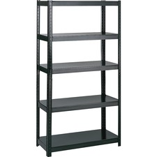 "Safco Boltless Steel Shelving - 36"" x 18"" x 72"" - 5 x Shelf(ves) - 453.59 kg Load Capacity - Durable - Black - Powder Coated - Steel - Assembly Required"