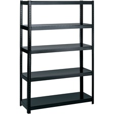 "Safco Boltless Steel Shelving - 48"" x 18"" x 72"" - 5 x Shelf(ves) - 453.59 kg Load Capacity - Black - Powder Coated - Steel - Assembly Required"