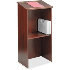 "Safco Stand Up Lectern - Rectangle Top - 15.8"" Table Top Length x 23"" Table Top Width - 46"" Height - Laminated, Mahogany - Wood"