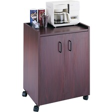 "Safco Mobile Refreshment Utility Cart - 90.72 kg Capacity - 4 Casters - 2"" (50.80 mm) Caster Size - Wood - 23"" Width x 18"" Depth x 31"" Height - Mahogany"