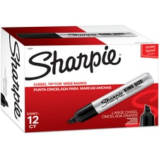 Sharpie King-Size Permanent Markers - Chisel Marker Point Style - Black - Silver Plastic Barrel - 12 / Dozen