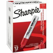 Sharpie King Size Permanent Marker - Chisel Marker Point Style - Red - Silver Plastic Barrel - 12 / Dozen