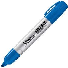 Sharpie King-Size Permanent Markers - Chisel Marker Point Style - Blue - Silver Plastic Barrel - 12 / Dozen