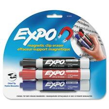 Expo Magnetic Clip Eraser - Chisel Marker Point Style - Red, Blue, Black