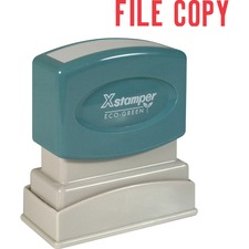 "Xstamper FILE COPY Title Stamp - Message Stamp - ""FILE COPY"" - 0.50"" Impression Width x 1.63"" Impression Length - 100000 Impression(s) - Red - Recycled - 1 Each"