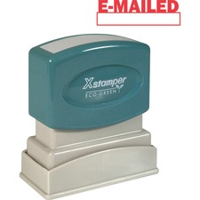 """Xstamper E-MAILED Window Title Stamp - Message Stamp - """"E-MAILED"""" - 0.50"""" Impression Width x 1.62"""" Impression Length - 100000 Impression(s) - Red - Recycled - 1 Each"""