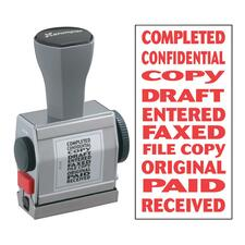 """Xstamper 10-In-1 Phrase Stamp - Message Stamp - """"COMPLETED, CONFIDENTIAL, COPY, DRAFT, ENTERED, FAXED, FILE COPY, ORIGINAL, PAID, RECEIVED"""" - 0.19"""" Impression Width x 1.50"""" Impression Length - Red - 1 Each"""