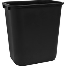"Sparco Rectangular Wastebasket - 26.50 L Capacity - Rectangular - 15"" Height x 14.5"" Width x 10.5"" Depth - Polyethylene - Black - 1 Each"
