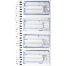 "Sparco 4CPP Carbonless Telephone Message Book - 400 Sheet(s) - Spiral Bound - 2 Part - Carbonless Copy - 2.75"" x 4.75"" Form Size - 5 1/4"" x 11"" Sheet Size - Blue Print Color - 1 / Each"