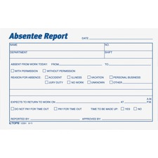 TOP 12391 Tops Absentee Report Form TOP12391