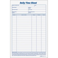 TOP 30041 Tops Daily Time Sheet Form TOP30041