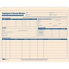"TOPS Employee Record Master File Jackets - Letter - 8 1/2"" x 11"" Sheet Size - 1"" Expansion - 10 pt. Folder Thickness - Manila - Manila - Recycled - 15 / Pack"