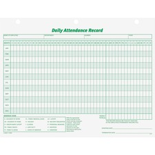 "TOPS Daily Employee Attendance Record Form - 50 Sheet(s) - 11"" x 8 1/2"" Sheet Size - 3 x Holes - White Sheet(s) - Green Print Color - 1 Pack"