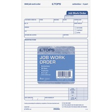 "TOPS Carbonless 3-Part Job Work Order Forms - 3 Part - Carbonless Copy - 5 1/2"" x 8 1/2"" Sheet Size - Assorted Sheet(s) - Black Print Color - 50 / Pack"