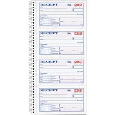 """TOPS Carbonless 2-part Money Receipt Book - 200 Sheet(s) - Wire Bound - 2 PartCarbonless Copy - 5 1/2"""" x 11"""" Sheet Size - Canary, White - Blue, Red Print Color"""
