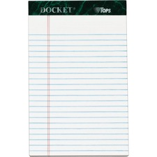 "TOPS Docket Letr - Trim White Legal Pads - Jr.Legal - 50 Sheets - Double Stitched - 0.28"" Ruled - 16 lb Basis Weight - 5"" x 8"" - White Paper - Marble Green Binder - Perforated, Sturdy Back, Easy Tear, Heavyweight, Resist Bleed-through"