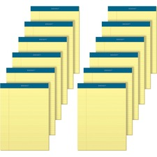 "TOPS Docket Letr-Trim Legal Rule Canary Legal Pads - 50 Sheets - Double Stitched - 0.34"" Ruled - 16 lb Basis Weight - 8 1/2"" x 11 3/4"" - Canary Paper - Marble Green Binder - Perforated, Hard Cover, Resist Bleed-through"