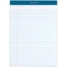 "TOPS Docket Letr-Trim Legal Ruled White Legal Pads - 50 Sheets - Double Stitched - 0.34"" Ruled - 16 lb Basis Weight - 8 1/2"" x 11 3/4"" - White Paper - Marble Green Binder - Perforated, Hard Cover, Resist Bleed-through"