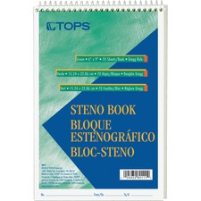 TOP 8011 Tops Green Tint Steno Books TOP8011