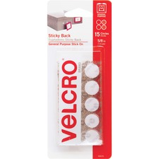 "VELCRO® Brand Sticky Back Coins - 0.62"" (15.7 mm) Width x 0.62"" (15.7 mm) Length - Self-adhesive - 15 / Pack - White"