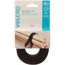 VELCRO® Brand ONE-WRAP® Roll, 12ft x 3/4in Roll, Black - Reusable, custom cut-to-length ties for heavier duty indoor or outdoor use.