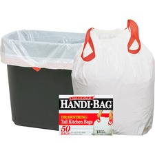"Webster Handi-Bag Drawstring Tall Kitchen Bags - Small Size - 13 gal - 24"" Width x 27.38"" Length - 0.60 mil (15 Micron) Thickness - White - Resin - 50/Box"