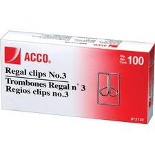 Acco Regal Paper Clips - No. 3 - Durable - 100 / Box - Silver - Metal