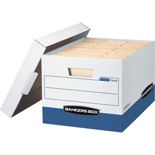 """Bankers Box R-Kive File Storage Box - Internal Dimensions: 12"""" (304.80 mm) Width x 15"""" (381 mm) Depth x 10"""" (254 mm) Height - External Dimensions: 12.8"""" Width x 16.5"""" Depth x 10.4"""" Height - Media Size Supported: Letter, Legal - Lift-off Closure - Heavy Duty - Stackable - White, Blue - For File - Recycled"""
