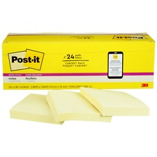 """Post-it® Super Sticky Notes - 1680 - 3"""" x 3"""" - Square - 90 Sheets per Pad - Unruled - Canary Yellow - Paper - Self-adhesive, Repositionable - 24 / Pack"""