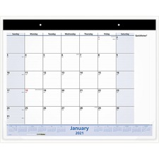 """At-A-Glance Monthly Bilingual Quick Note Calender - Julian Dates - Monthly - 1.1 Year - January 2022 till December 2022 - 1 Month Single Page Layout - 17"""" x 22"""" Sheet Size - 2.50"""" (63.50 mm) x 2.50"""" (63.50 mm) Block - Headband - Desk Pad - Black - Vinyl - Reference Calendar, Eyelet, Bilingual"""