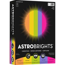 """Astrobrights Colored Cardstock - """"Happy"""" 5-Color Assortment - Letter - 8 1/2"""" x 11"""" - 65 lb Basis Weight - FSC"""