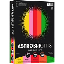 "Astrobrights Inkjet, Laser Printable Multipurpose Card - Solar Yellow, Pulsar Pink, Re-entry Red, Orbit Orange, Gamma Green - Letter - 8 1/2"" x 11"" - 24 lb Basis Weight - FSC"