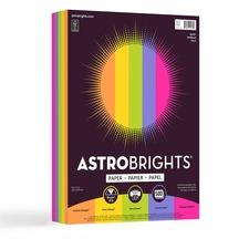 "Astrobrights Inkjet, Laser Colored Paper - Cosmic Orange, Solar Yellow, Terra Green, Venus Violet, Fireball Fuschia - Letter - 8 1/2"" x 11"" - 24 lb Basis Weight - 500 / Ream - FSC"
