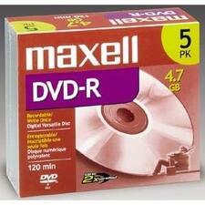 Maxell 4x DVD-R Media - 4.7GB - 5 Pack