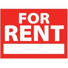 Headline Information Sign - For Rent Print/Message - Rectangular Shape - Wire, Plastic