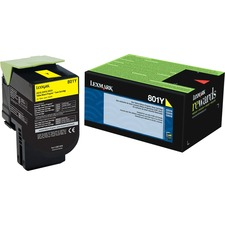 Lexmark Unison 801Y Toner Cartridge - Laser - Standard Yield - 1000 Pages Yellow - Yellow - 1 Each