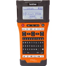 """Brother P-touch EDGE PT-E550W Electronic Label Maker - Thermal Transfer - 30 mm/s Mono - 180 x 360 dpi - Tape, Label0.14"""" (3.50 mm), 0.24"""" (6 mm), 0.35"""" (9 mm), 0.47"""" (12 mm), 0.71"""" (18 mm), 0.94"""" (24 mm) - LCD Screen - Power Adapter, Battery - Lithium Ion (Li-Ion) - Battery Included - High Visibility Industrial Orange - PC, Mac, Handheld - for Industry, Office"""