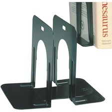 "MMF 5"" Steel Bookends - 5"" Height x 4.7"" Width x 5.3"" Depth - Black - Steel - 1 Pair"