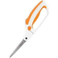 """Fiskars Easy Action Scissors - 8"""" (203.20 mm) Overall Length - Stainless Steel - Bent Tip - 1 Each"""