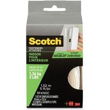 "Scotch Indoor Hook/Loop Fasteners - 5 ft (1.5 m) Length x 0.75"" (19.1 mm) Width - 1 / Pack - White"