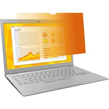 """3M Gold Privacy Filter for 14 in Laptops with COMPLYâ""""¢ Flip Attach 16:9 GF140W9B Gold, Glossy Black, Matte - For 14"""" Widescreen LCD Notebook - 16:9 - Scratch Resistant, Fingerprint Resistant, Dust Resistant"""