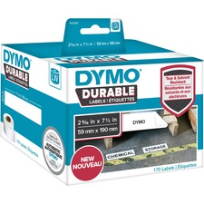"Dymo ID Label - 2 21/64"" Width x 7 31/64"" Length - White - Polypropylene - 170 / Roll - 170 Total Label(s)"