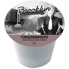 Brooklyn Fuhgeddaboutit Dark Roast Coffee - Arabica - Dark - 24 / Box