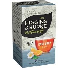 Higgins & Burke Naturals Earl Grey Black Tea Bags - Black Tea - Earl Grey - 20 / Box