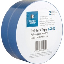 """Business Source Multisurface Painter's Tape - 60 yd (54.9 m) Length x 1"""" (25.4 mm) Width - 5.50 mil (0.14 mm) Thickness - 2 / Pack - Blue"""
