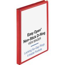 "Business Source Red D-ring Binder - 1"" Binder Capacity - D-Ring Fastener(s) - 4 Pocket(s) - Polypropylene - Red - Non-stick, Labeling Area"