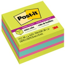 """Post-it® Super Sticky Notes Cubes - 3"""" x 3"""" - Square - 360 Sheets per Pad - Bright Green, Blue, Pink - Paper - Sticky, Recyclable - 1 Pack"""
