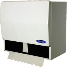 Frost Universal Paper Towel Dispenser - Singlefold, Roll - Steel - White - Durable, Long Lasting, Hinged Door
